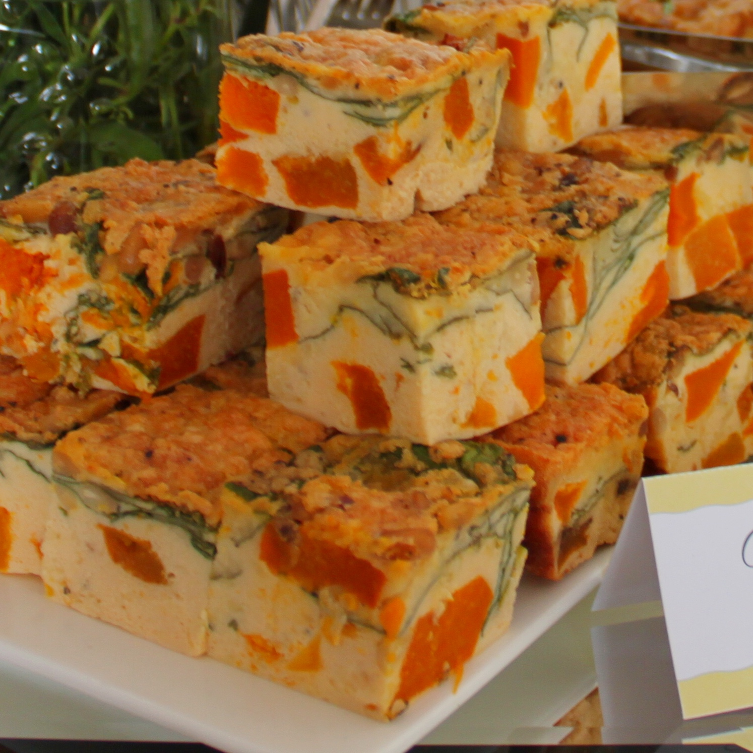 Roast Pumpkin Spinach and Pinenut Frittata